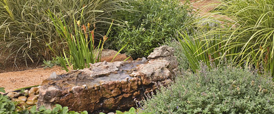 Water feature in a PermaDesign landscape design.